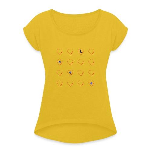 Heart Love #2 - Frauen T-Shirt mit gerollten Ärmeln