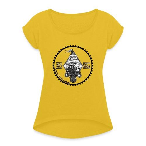 Nadelwelt Logo 2020 BW - Frauen T-Shirt mit gerollten Ärmeln