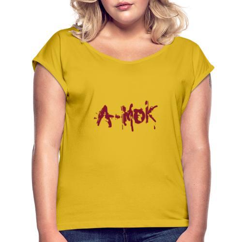 A-MOK Splash Logo Rot - Frauen T-Shirt mit gerollten Ärmeln