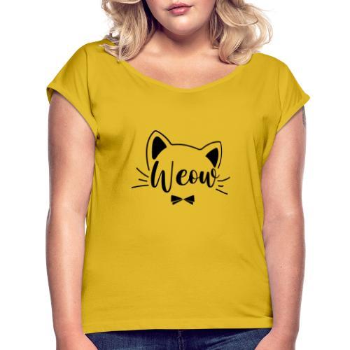meow - Camiseta con manga enrollada mujer