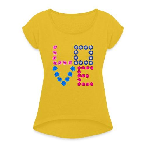 LOVE 21.1 - Frauen T-Shirt mit gerollten Ärmeln