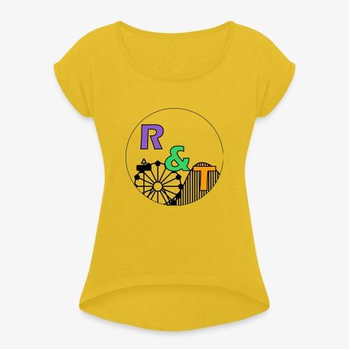 *Limited Edition* Robin & Thomas Merch Zwart - Vrouwen T-shirt met opgerolde mouwen