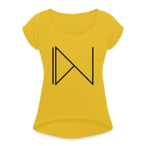 Icon on sleeve - Vrouwen T-shirt met opgerolde mouwen