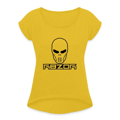 R8ZOR LOGO B/W - Women's T-Shirt with rolled up sleeves
