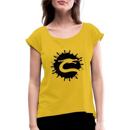 Dragemester_Sort - Dame T-shirt med rulleærmer