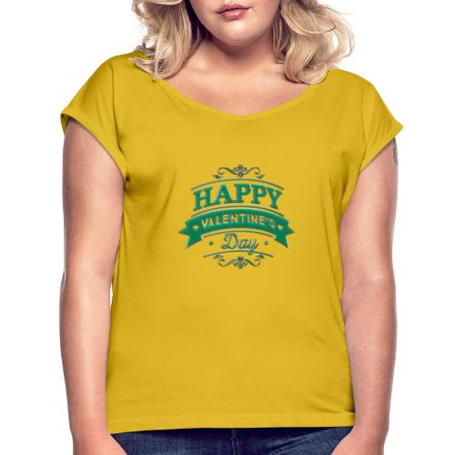 Valentine Day - T-shirt med upprullade ärmar dam
