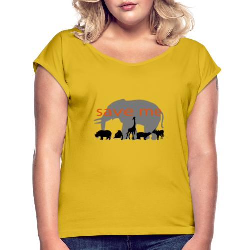 Animaux - T-shirt à manches retroussées Femme
