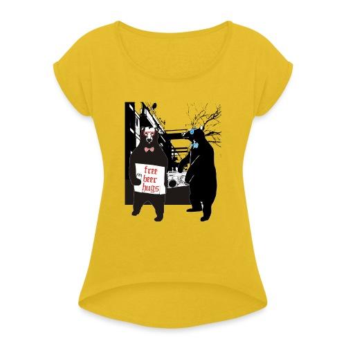 BEER BEARS - Naisten T-paita, jossa rullatut hihat