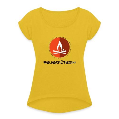 feuerhu terin black 2 - Frauen T-Shirt mit gerollten Ärmeln