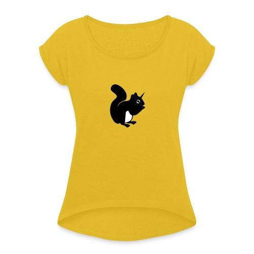 einho rnchen png - Frauen T-Shirt mit gerollten Ärmeln
