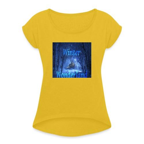 Winter Wonderland - T-skjorte med rulleermer for kvinner