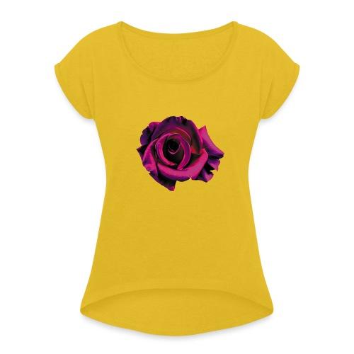 Lila Ros - T-shirt med upprullade ärmar dam