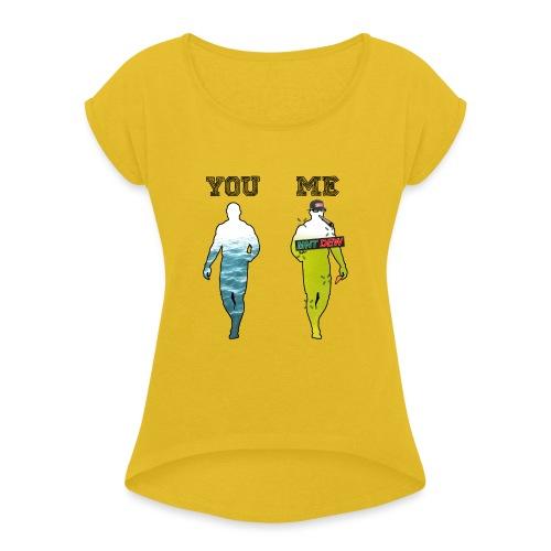 70% MLG - T-skjorte med rulleermer for kvinner