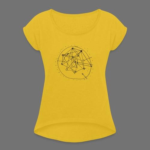 Strategia SEO nr 1 (czarny) - Koszulka damska z lekko podwiniętymi rękawami