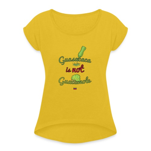 Guasacaca is not Guacamole (with flag) - Camiseta con manga enrollada mujer