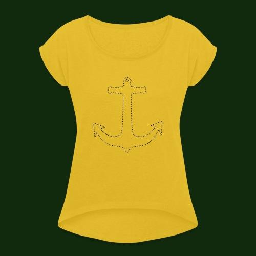 Anker gestrichelt - Frauen T-Shirt mit gerollten Ärmeln