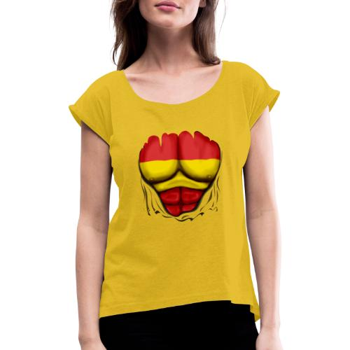 España Flag Ripped Muscles six pack chest t-shirt - Women's T-Shirt with rolled up sleeves