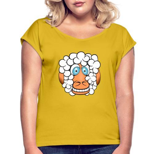 bad hair day crazy sheep - Frauen T-Shirt mit gerollten Ärmeln