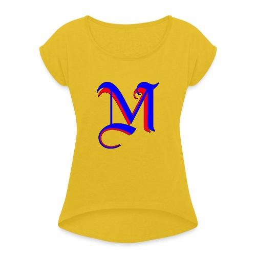 madMusic_Records Logo - Frauen T-Shirt mit gerollten Ärmeln
