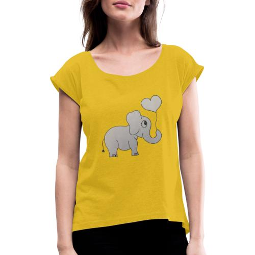 LackyElephant - Frauen T-Shirt mit gerollten Ärmeln