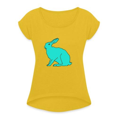 türkiser Hase - Frauen T-Shirt mit gerollten Ärmeln
