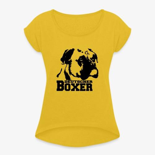 Deutscher Boxer - Frauen T-Shirt mit gerollten Ärmeln
