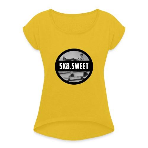 sk8 buttons - Vrouwen T-shirt met opgerolde mouwen