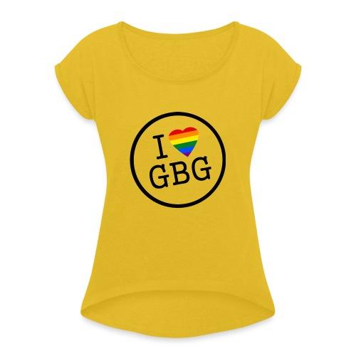 I Love Gbg - tygkasse - T-shirt med upprullade ärmar dam