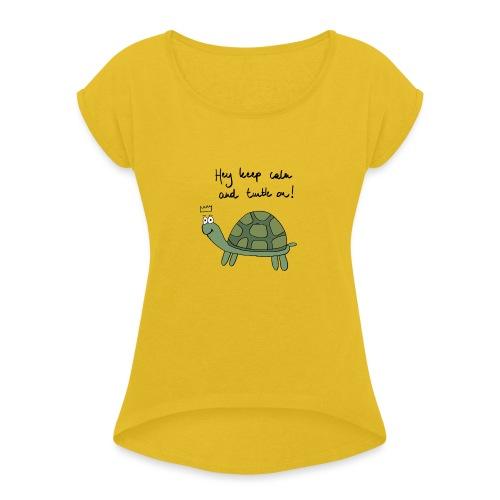 turtle - Vrouwen T-shirt met opgerolde mouwen