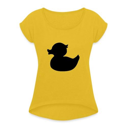 Duck Black - Vrouwen T-shirt met opgerolde mouwen