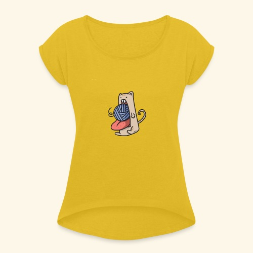 the eat-all-you-can cat - Women's T-Shirt with rolled up sleeves