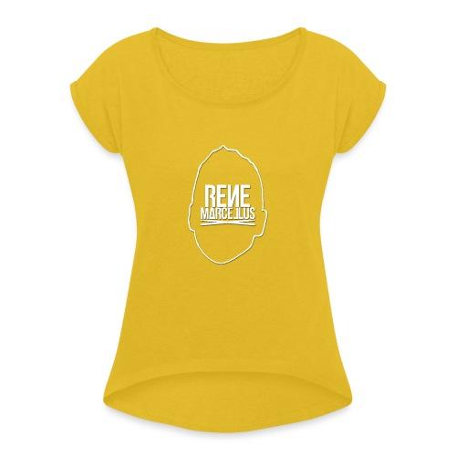 hoofdlogo - Vrouwen T-shirt met opgerolde mouwen