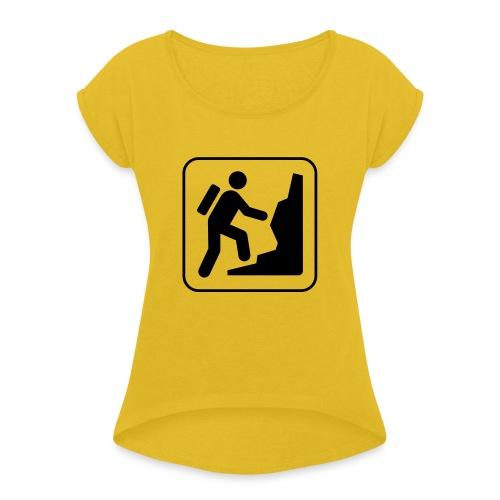 Bergwandern_logo - Frauen T-Shirt mit gerollten Ärmeln