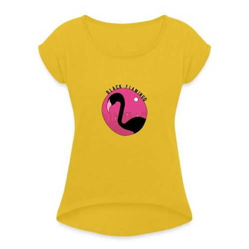 Black Flamingo - Women's T-Shirt with rolled up sleeves