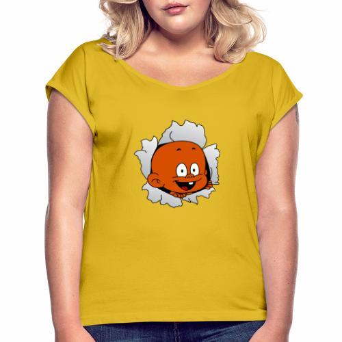 Baby geboren lustig - Frauen T-Shirt mit gerollten Ärmeln