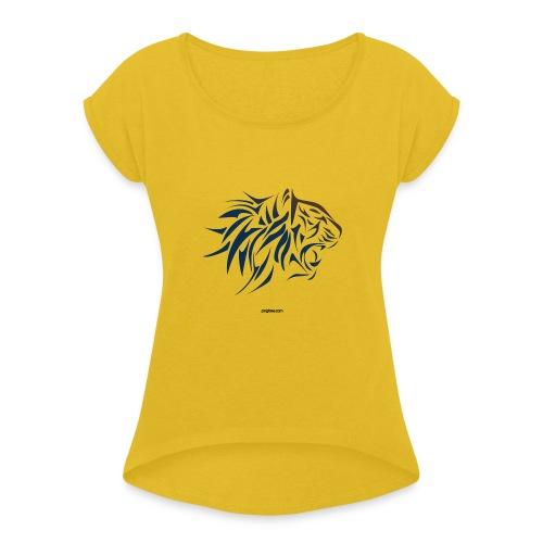 tiger vector - Camiseta con manga enrollada mujer