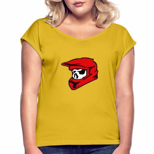 Schaedel Motocross - Frauen T-Shirt mit gerollten Ärmeln