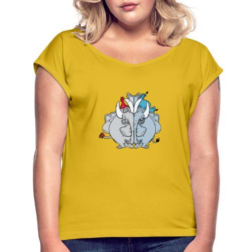 Bästa vänner - T-shirt med upprullade ärmar dam