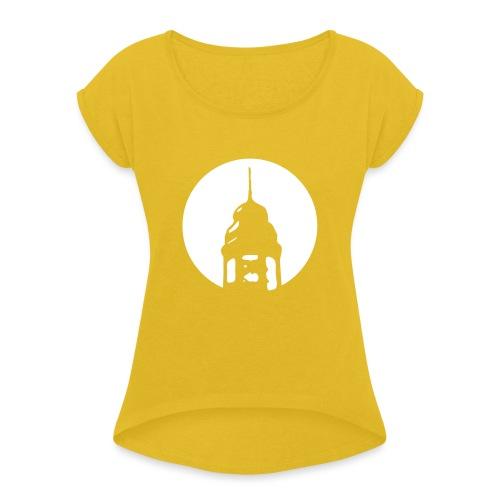 Logo invertiert - Frauen T-Shirt mit gerollten Ärmeln