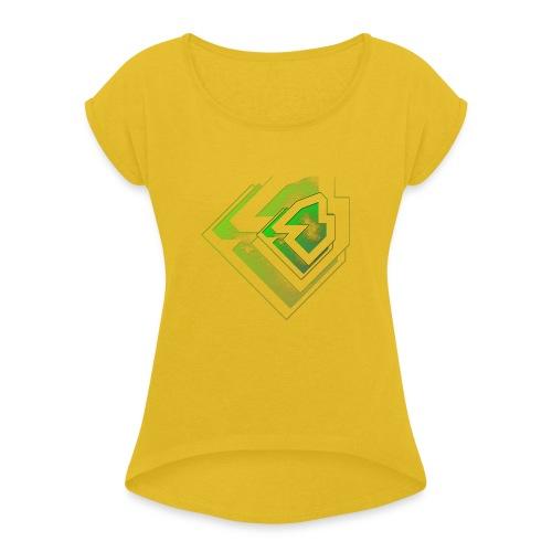 BRANDSHIRT LOGO GANGGREEN - Vrouwen T-shirt met opgerolde mouwen
