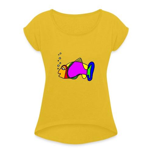 Fisch exit-shirt Tusche Fisch - Frauen T-Shirt mit gerollten Ärmeln