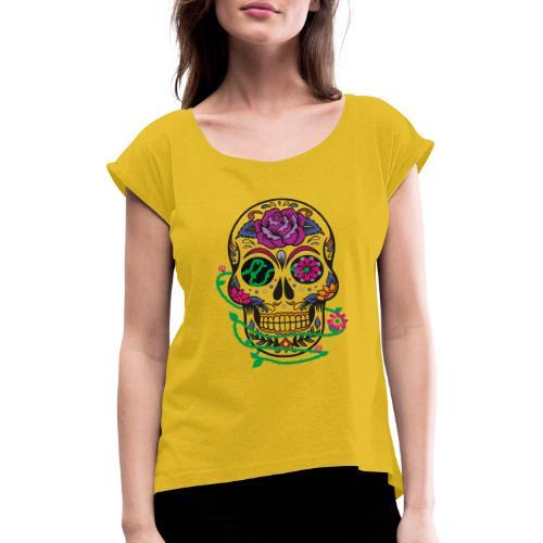 calavera 1 - Camiseta con manga enrollada mujer