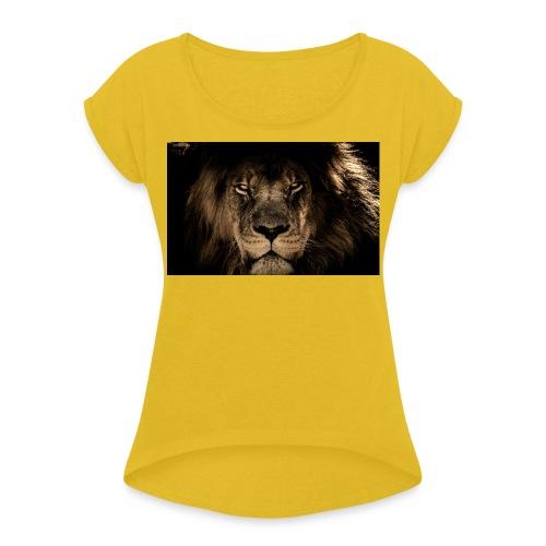 Lion face predator look wildlife 2880x1800 Convert - Camiseta con manga enrollada mujer