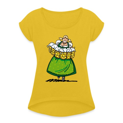 Oktoberfest Bedienung Maßkrüge - Frauen T-Shirt mit gerollten Ärmeln