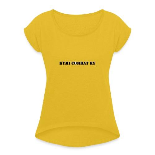 kc musta teksti transparent png - Naisten T-paita, jossa rullatut hihat
