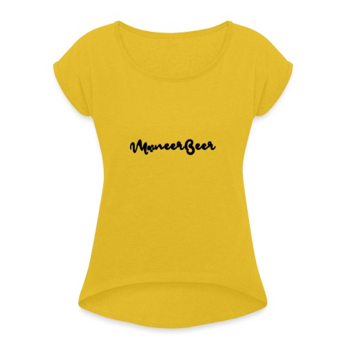 LogoText - Vrouwen T-shirt met opgerolde mouwen
