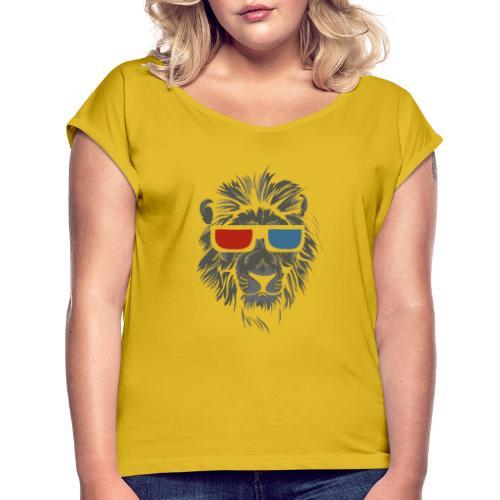 Lion 3D - T-shirt med upprullade ärmar dam