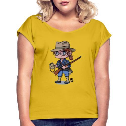 Chibi Span-Am war girl - Naisten T-paita, jossa rullatut hihat