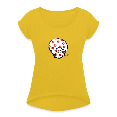 Beso oveja - Camiseta con manga enrollada mujer