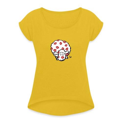 Kuss Mutterschaf - Frauen T-Shirt mit gerollten Ärmeln